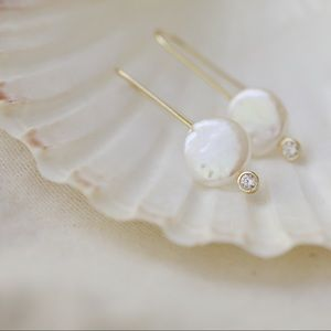 Natural Pearl Earrings | 14k Gold Plated